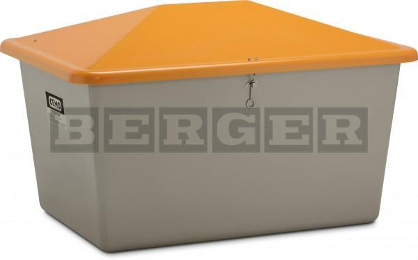 Streugutbehälter grau-orange ohne Entnahme