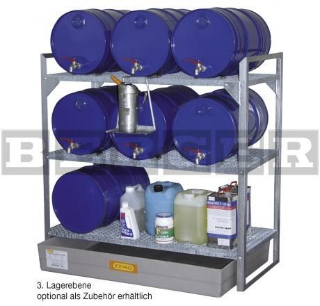 Fassregal Typ 360 für bis zu 6 x 60 Liter Fässer und Kleingebinde