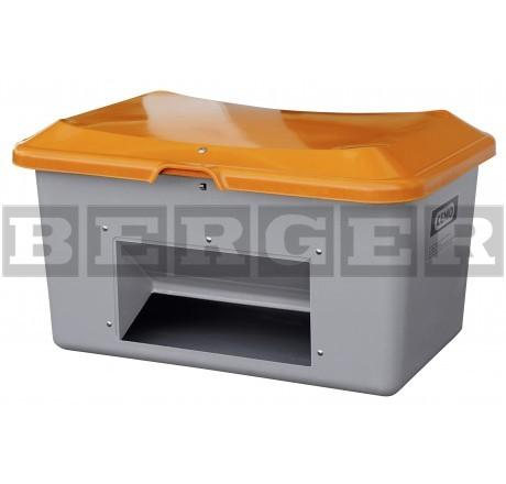 Streugutbehälter Plus3 grau-orange mit Entnahme ohne Staplertaschen